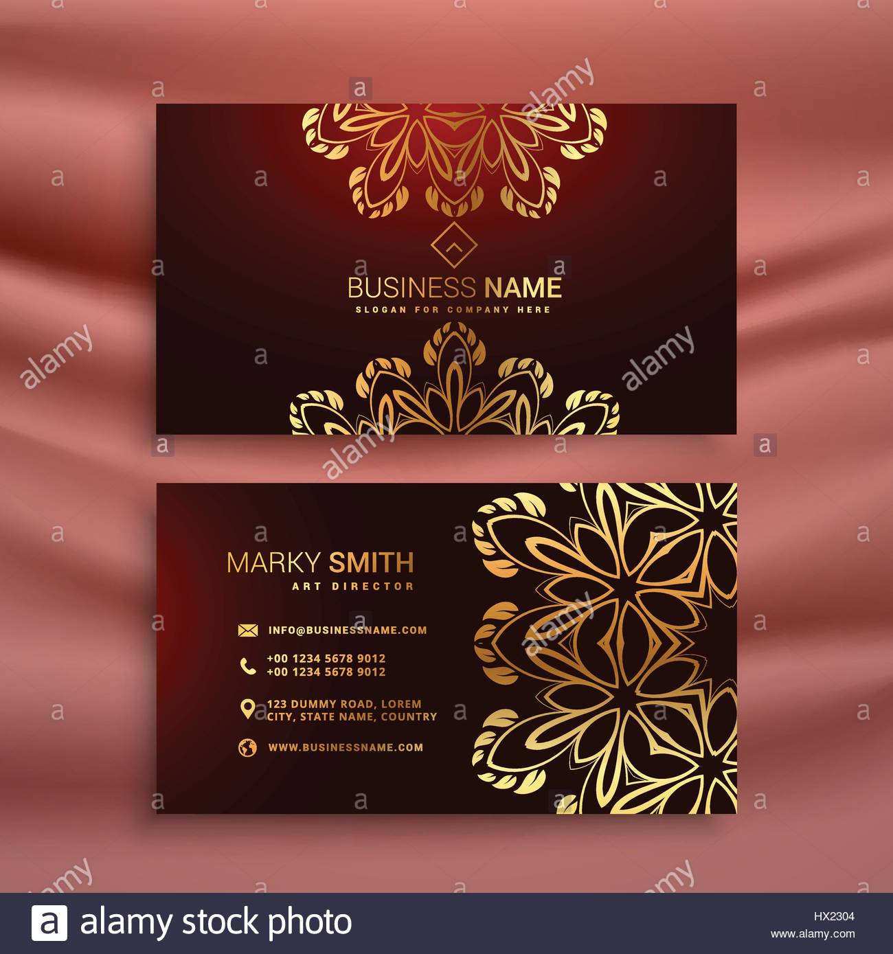 golden floral luxury business card template Stock Vector Art ...