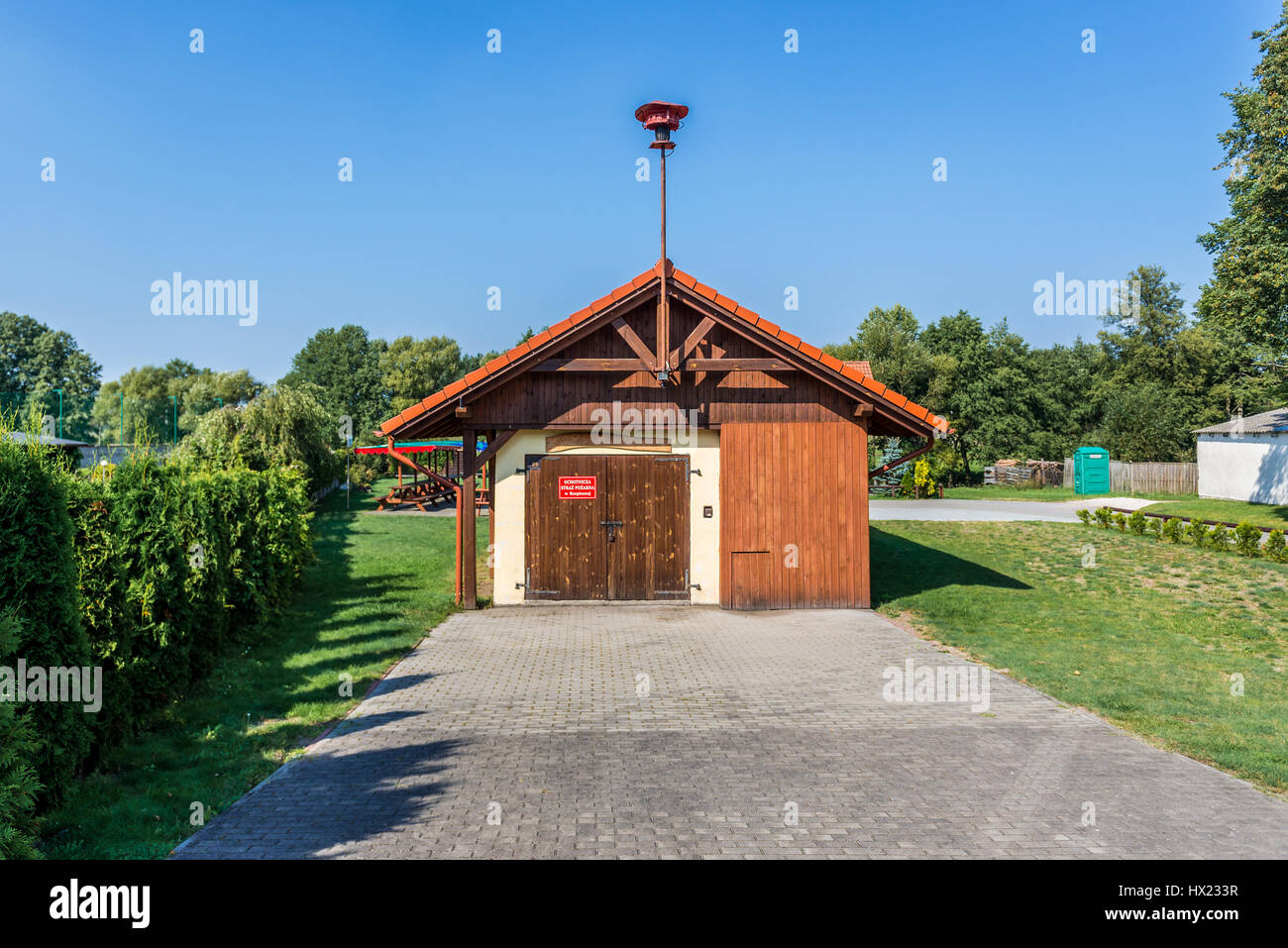 Small fire station of Polsih volunteer fire department in Rzepiczna small village in Kuyavian-Pomeranian Voivodeship - Stock Image