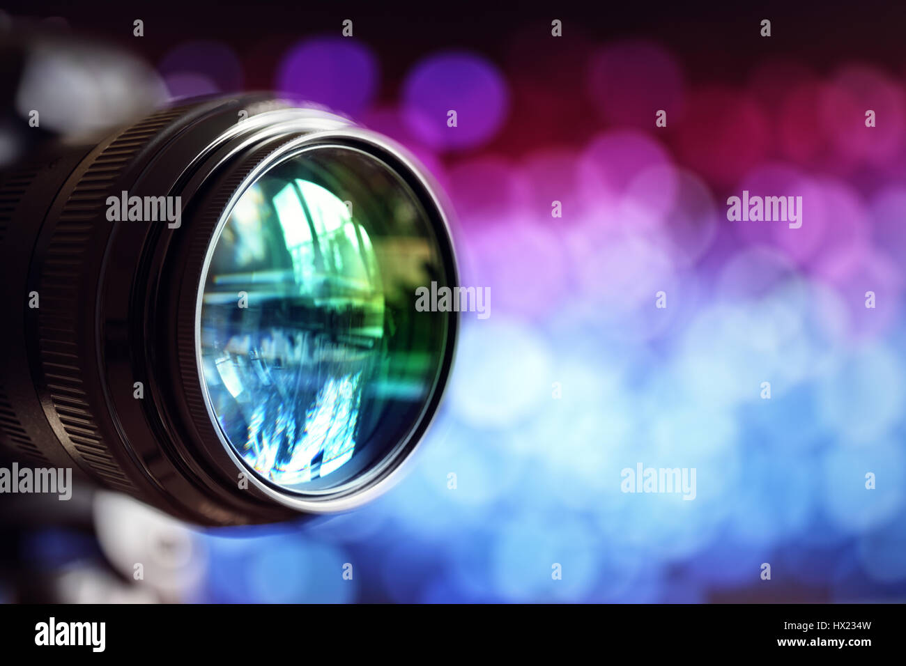 Digital camera lens with copy space - Stock Image