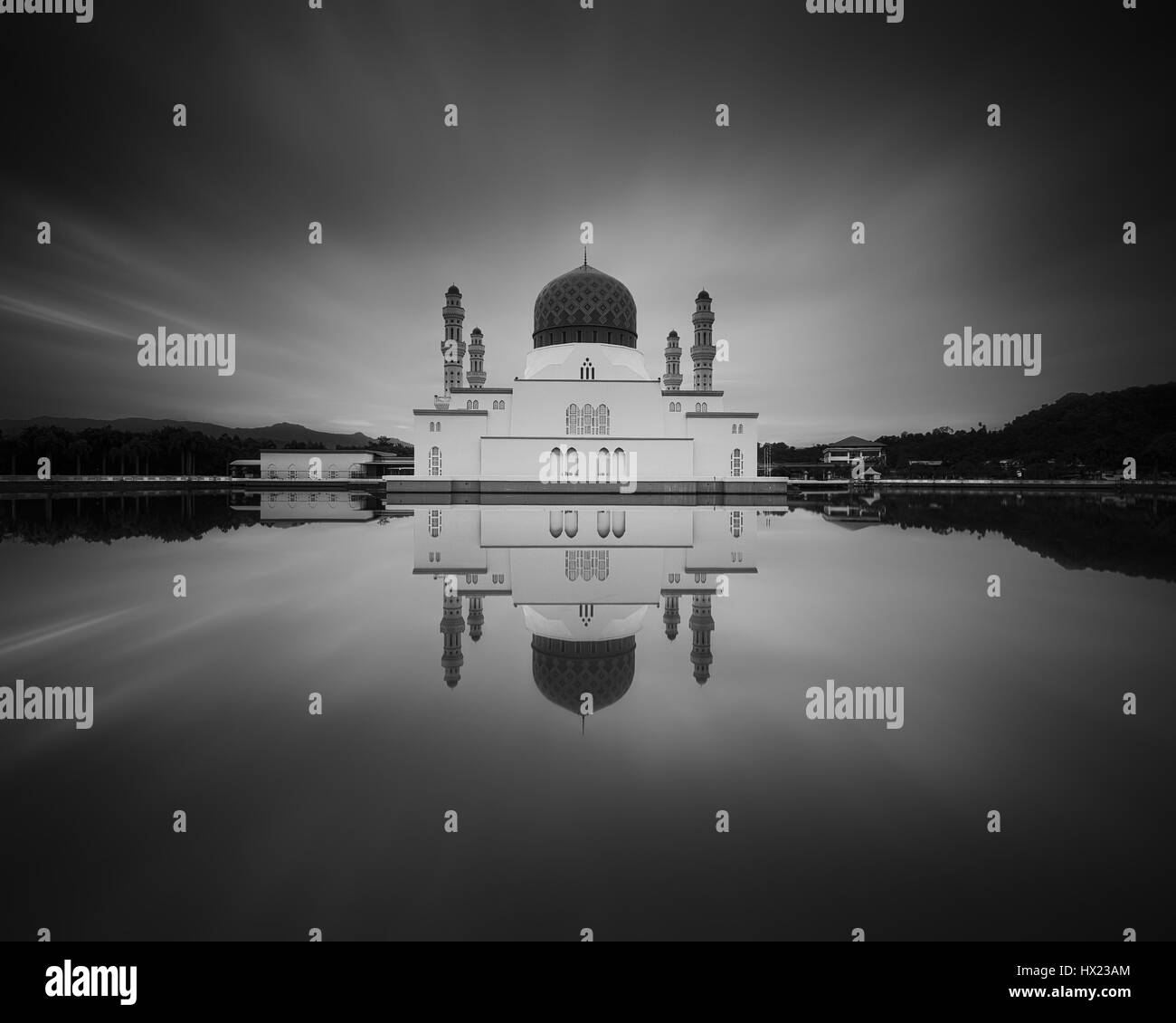 Likas Mosque In Black & White - Stock Image