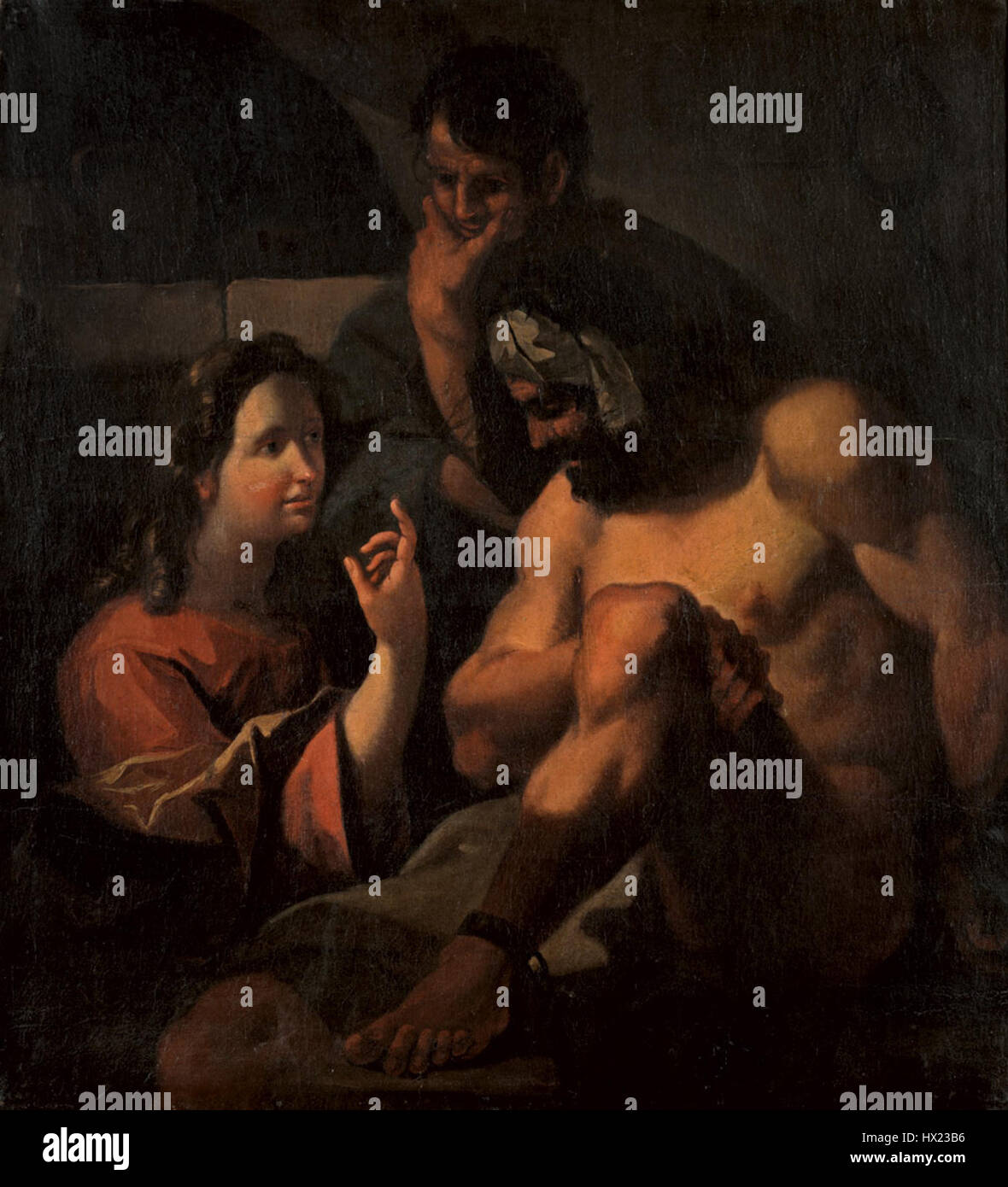 Joseph interprets the dreams of two prisoners Venetian c1700 - Stock Image