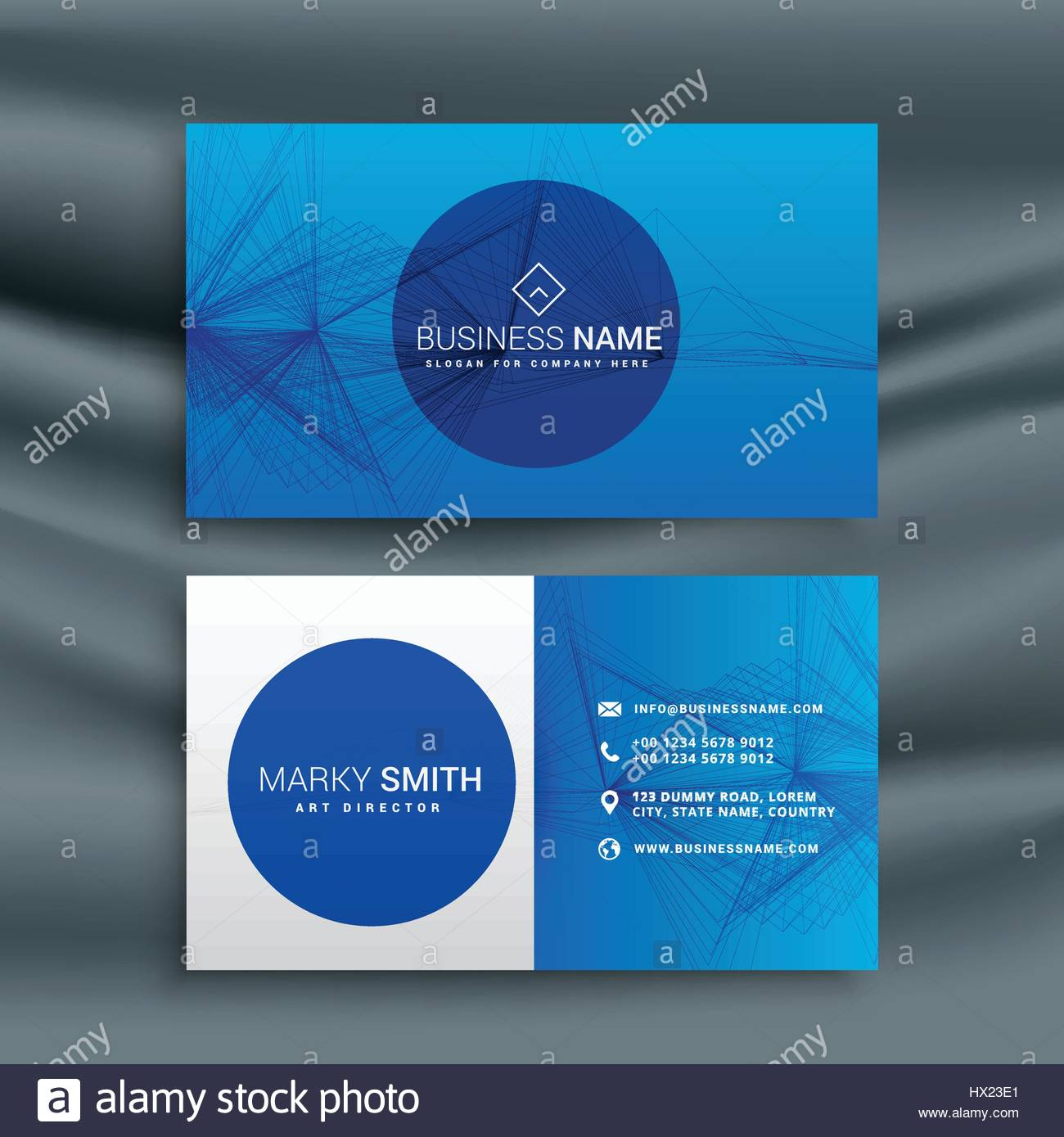 blue business card template with abstract wire mesh shape Stock ...