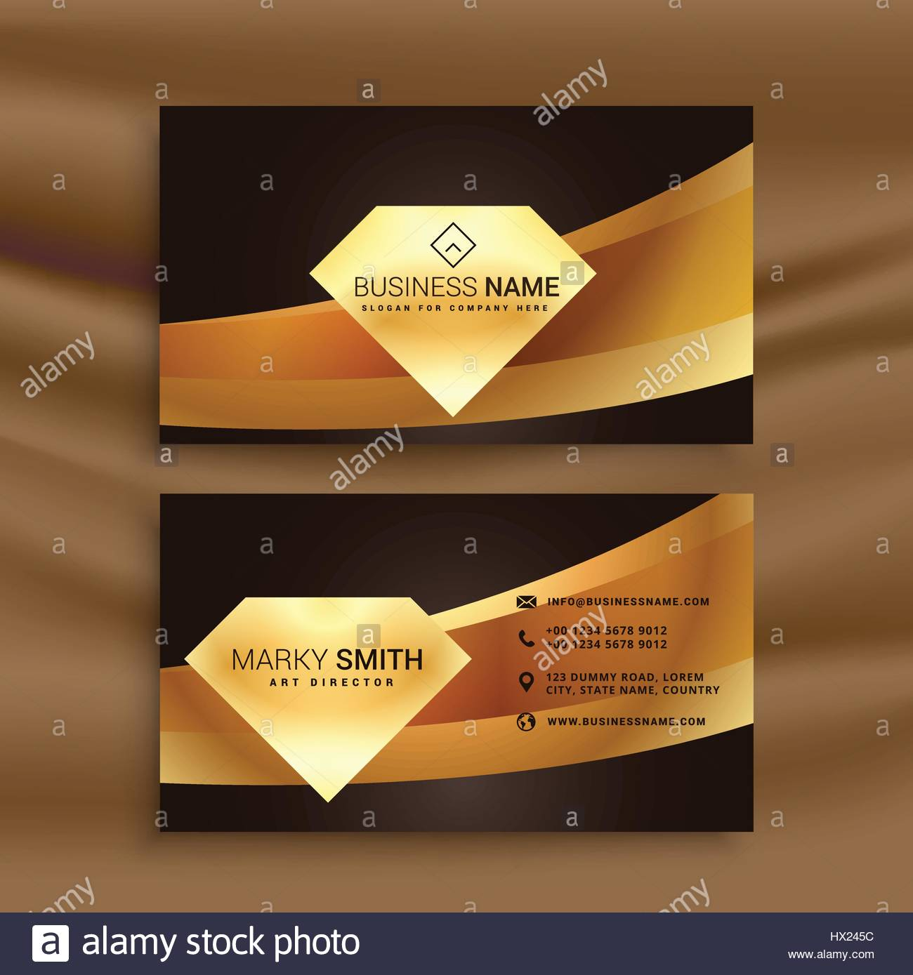 Premium business card template with golden wave shape stock vector premium business card template with golden wave shape wajeb Gallery