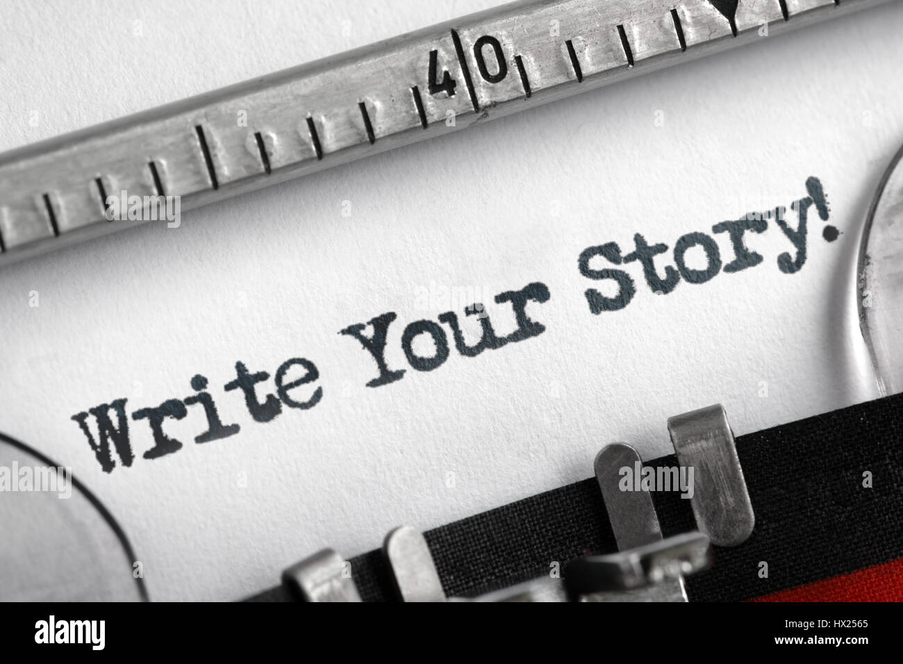 Write your story written on an old typewriter concept for unique, individual or personal life history message - Stock Image