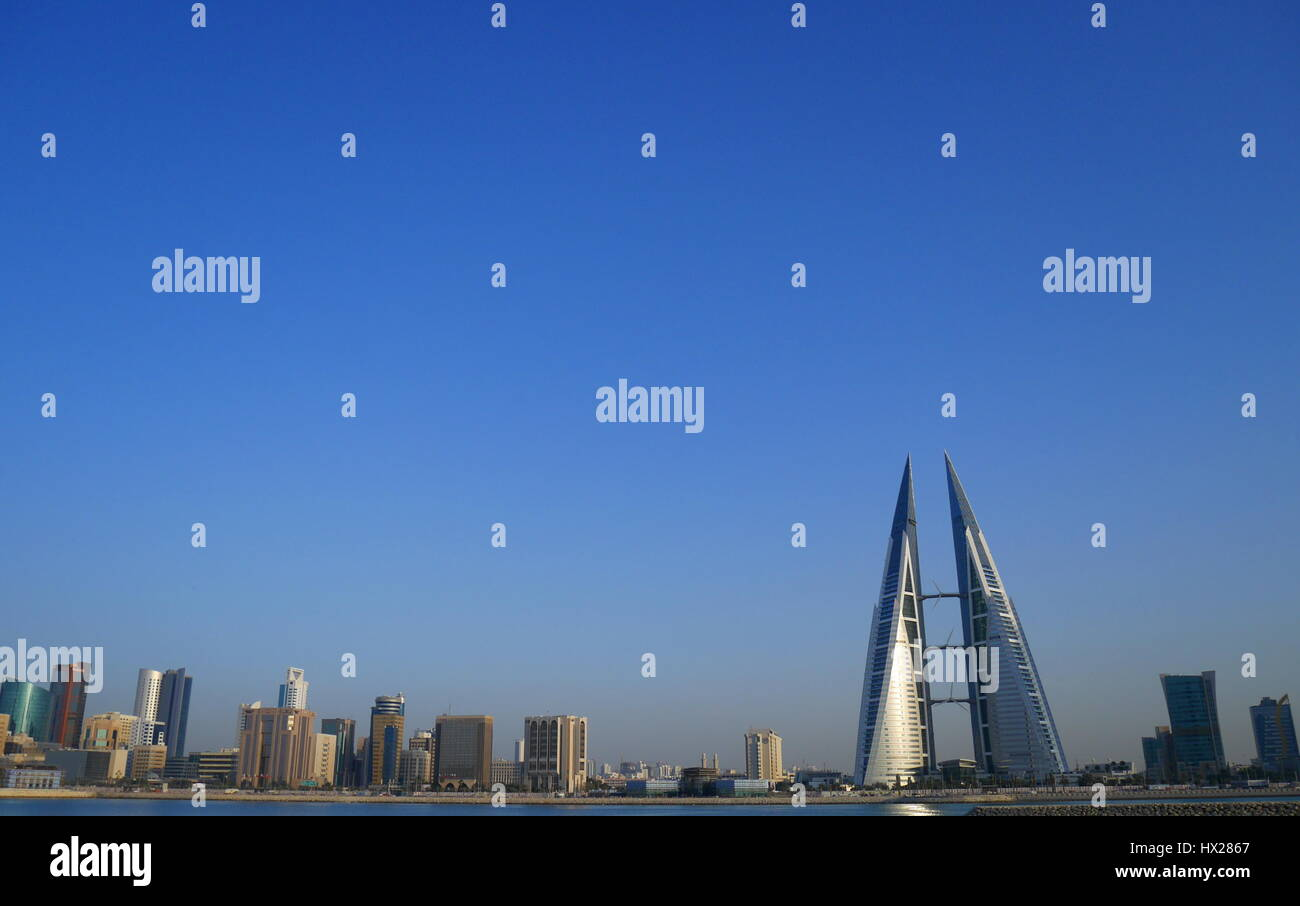 Bahrain World Trade Center, Manama, Kingdom of Bahrain - Stock Image