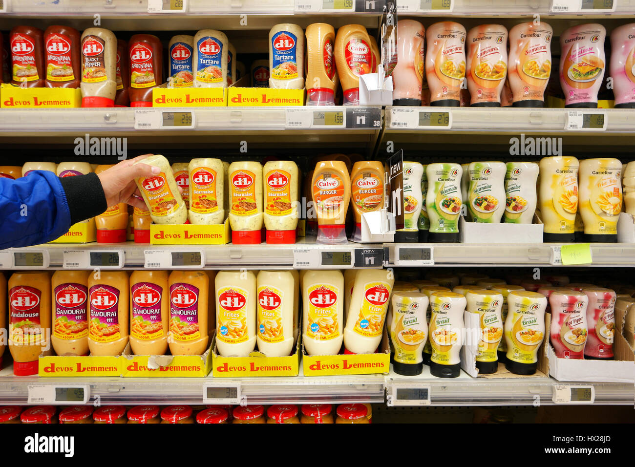 Sauces in a Store - Stock Image