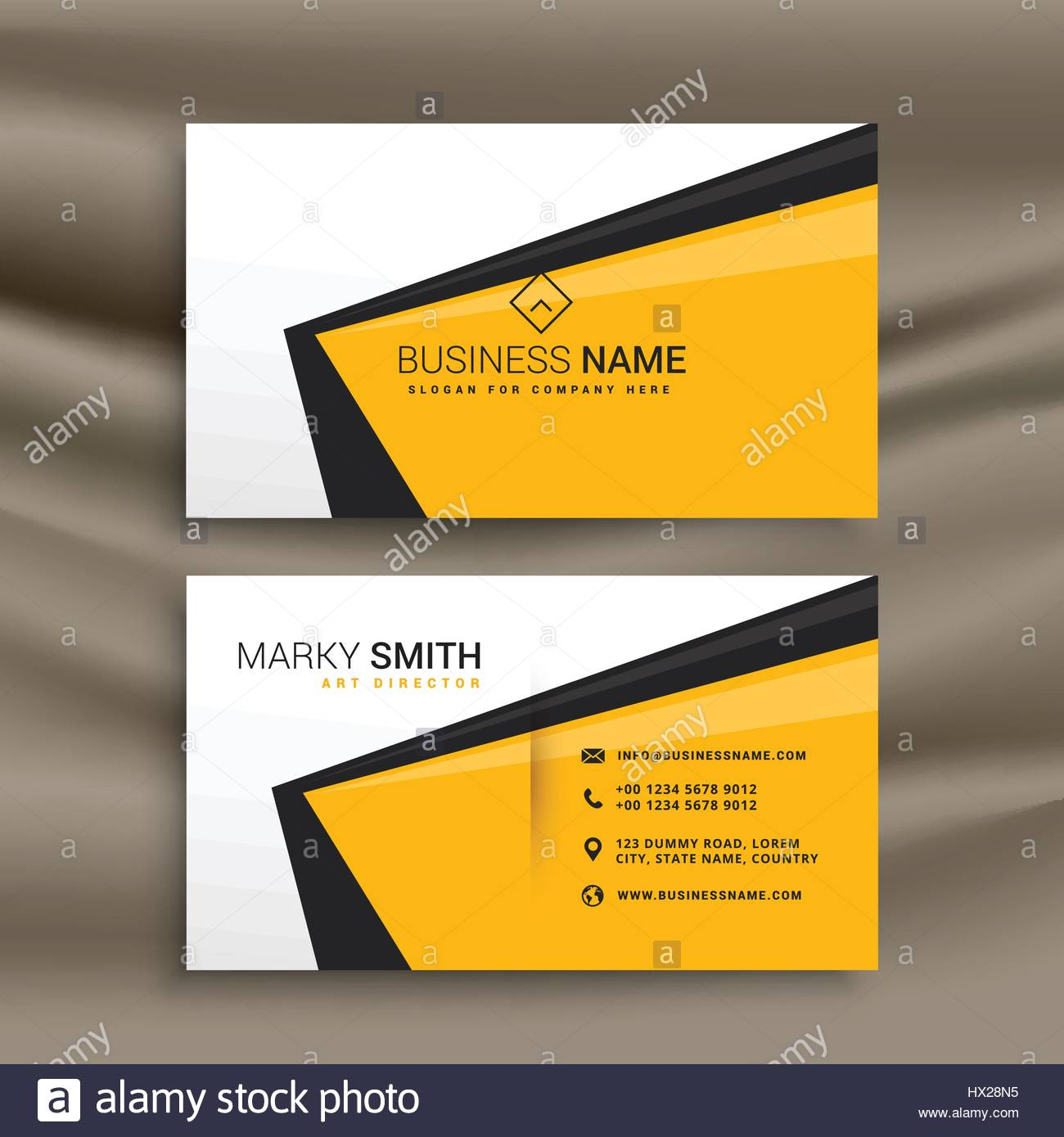 creative business card design with flat yellow black and white ...