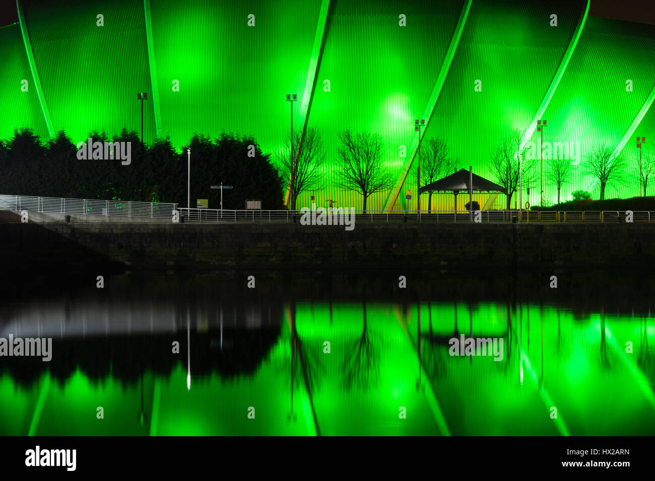 The SEC Armadillo music venue at the Scottish Event Campus, Glasgow, Scotland, UK - reflected in the River Clyde - Stock Image