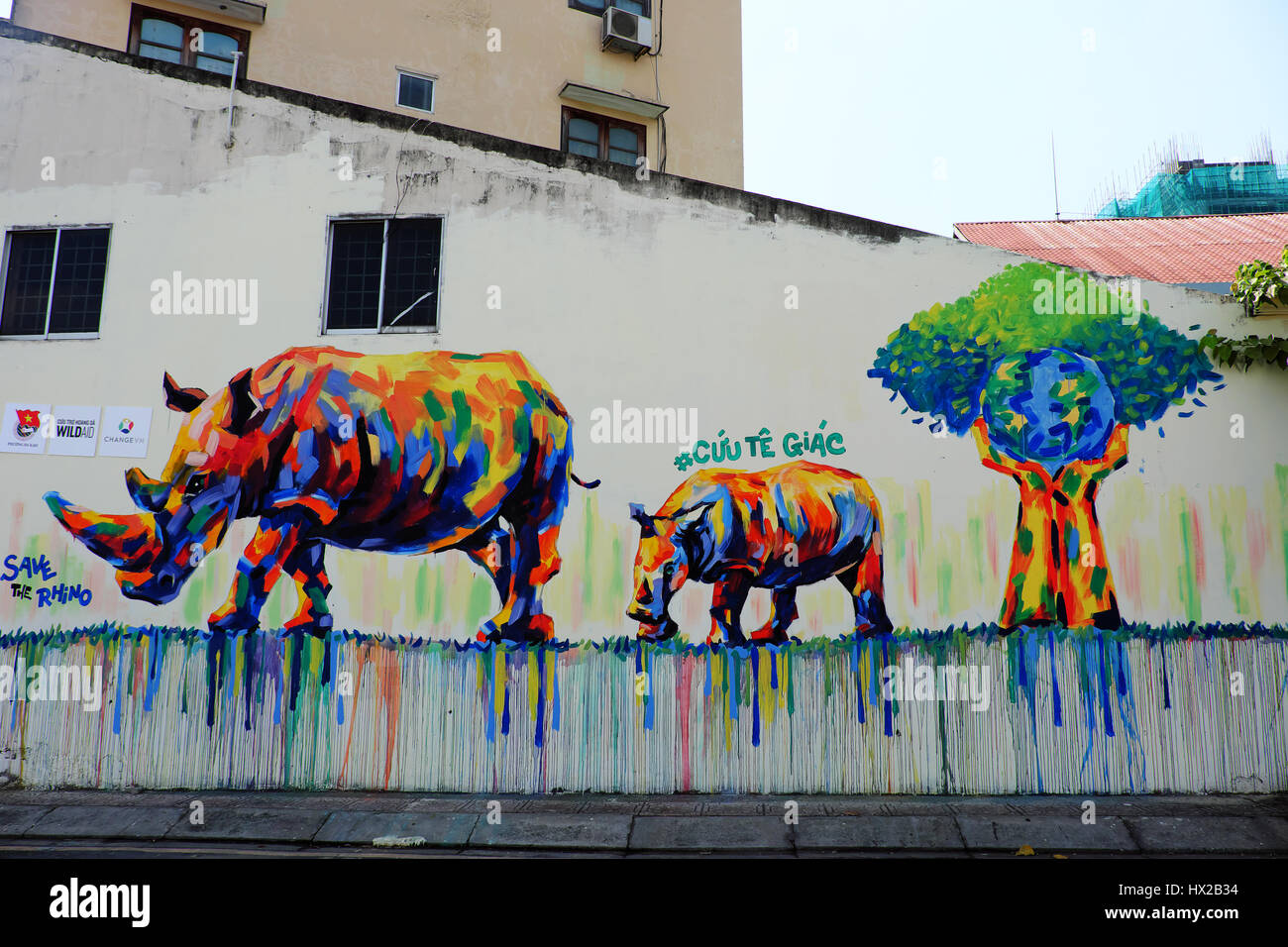 Campaign To Vietnamese Dont Use Rhino Horn By Graffiti Art Rhinoceros Painting On Wall Message People Protect Animal Meaningful Street Art