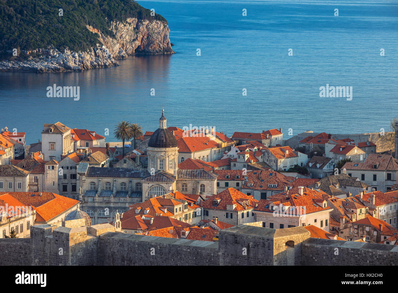 Dubrovnik, Croatia. Beautiful romantic old town of Dubrovnik during sunny day. - Stock Image
