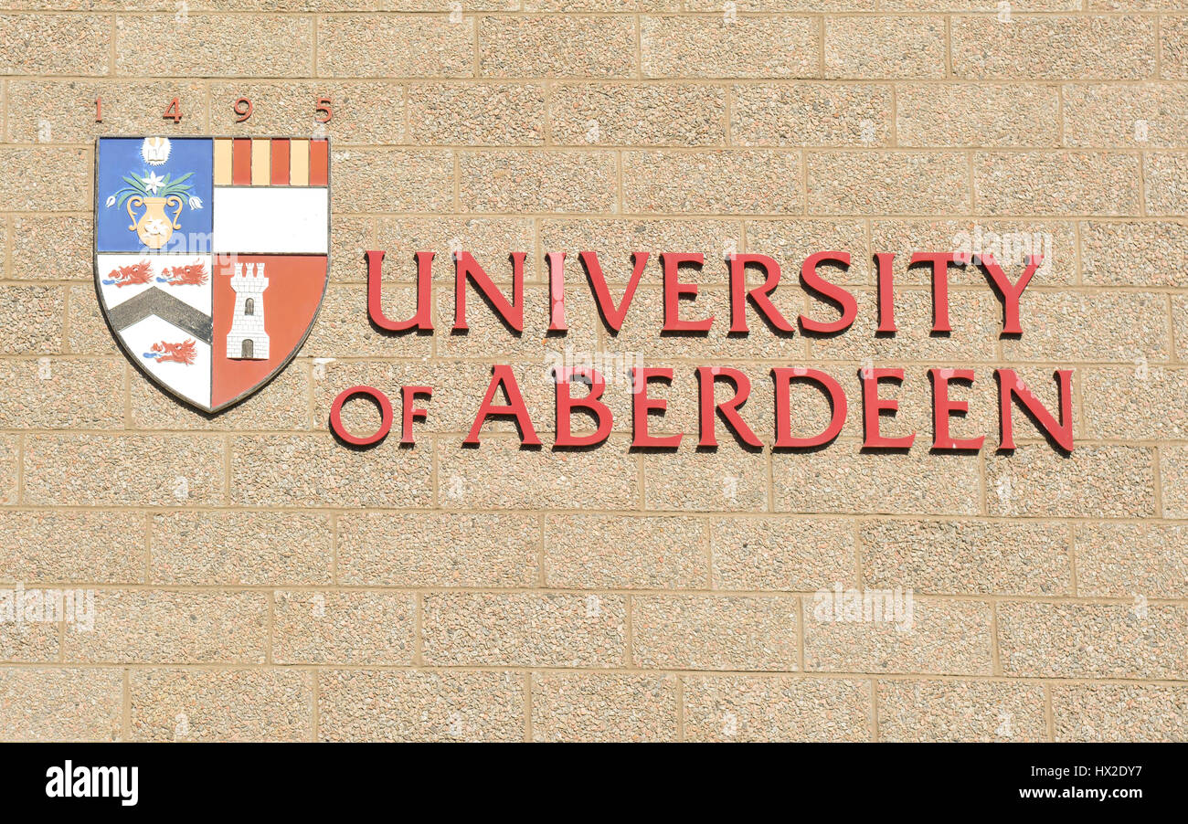 University of Aberdeen sign - Stock Image