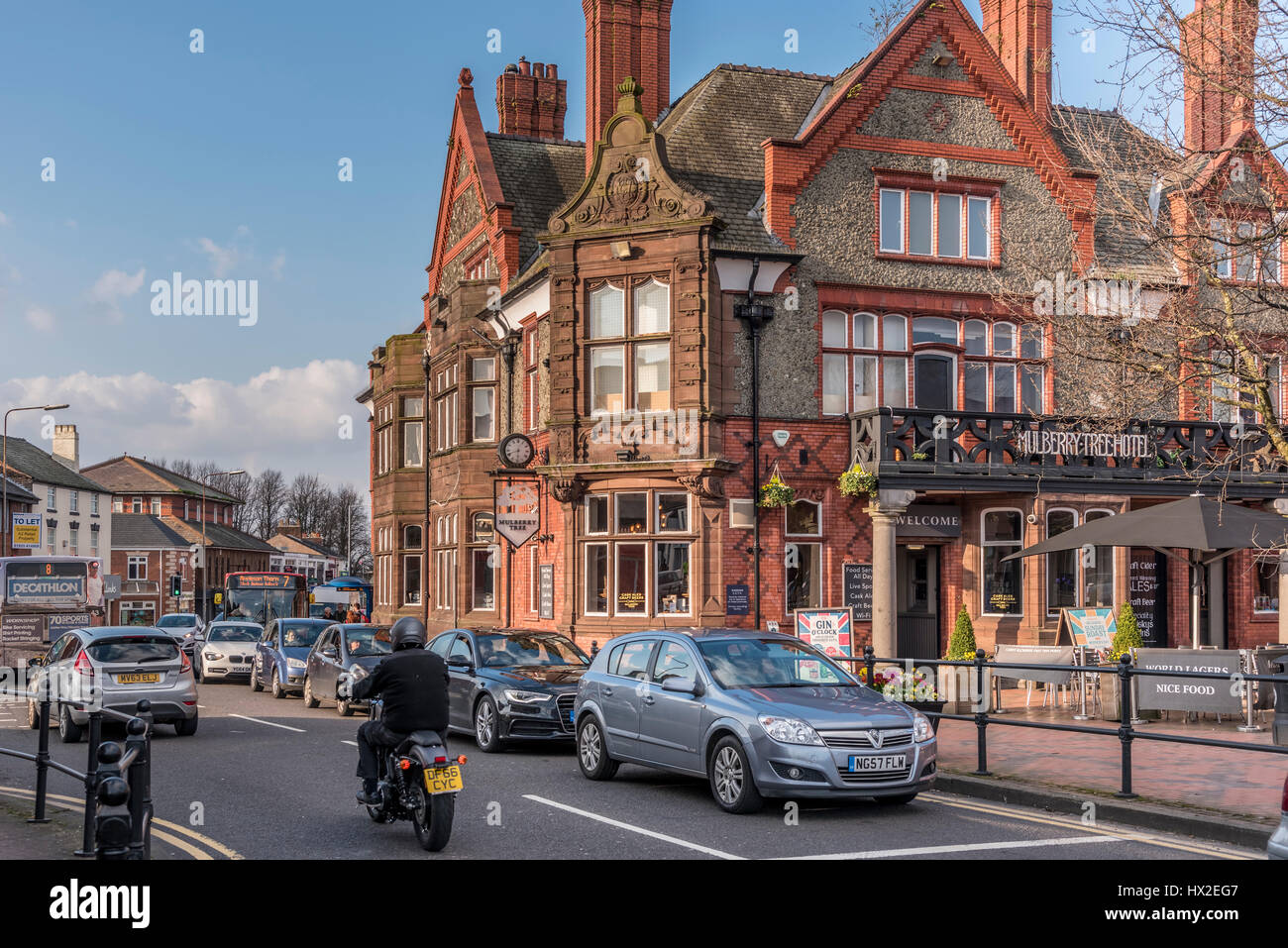THe centre of Stockton Heath and affluent suburb in the south of Warrington in Cheshire. - Stock Image