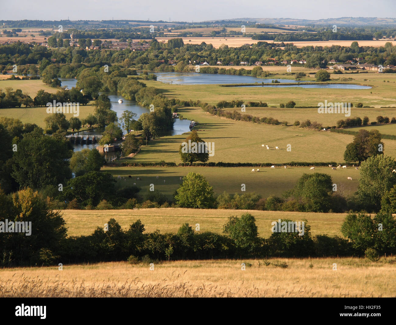 Dorchester on Thames in the distance showing the river and valley from Wittenham Clumps in Berkshire. Beauty spot - Stock Image