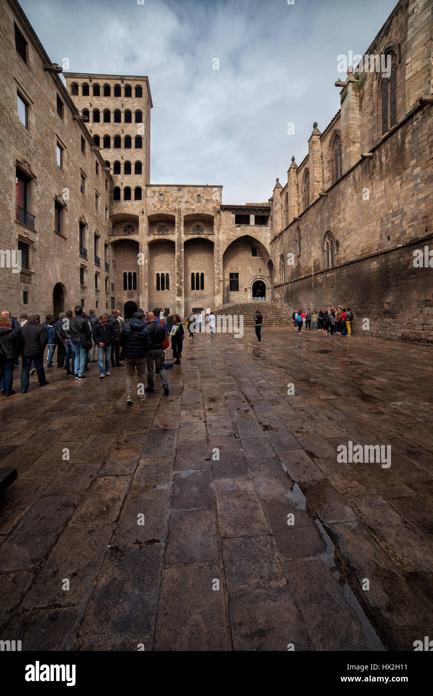Placa del Rei medieval square and Palau Reial Major in Barcelona, Gothic Quarter (Barri Gotic) of the city, Catalonia, - Stock Image