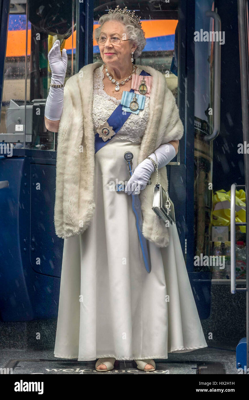 Queen lookalike Mary Reynolds portrays HRH Elizabeth II in personal appearances, films, commercials - Stock Image