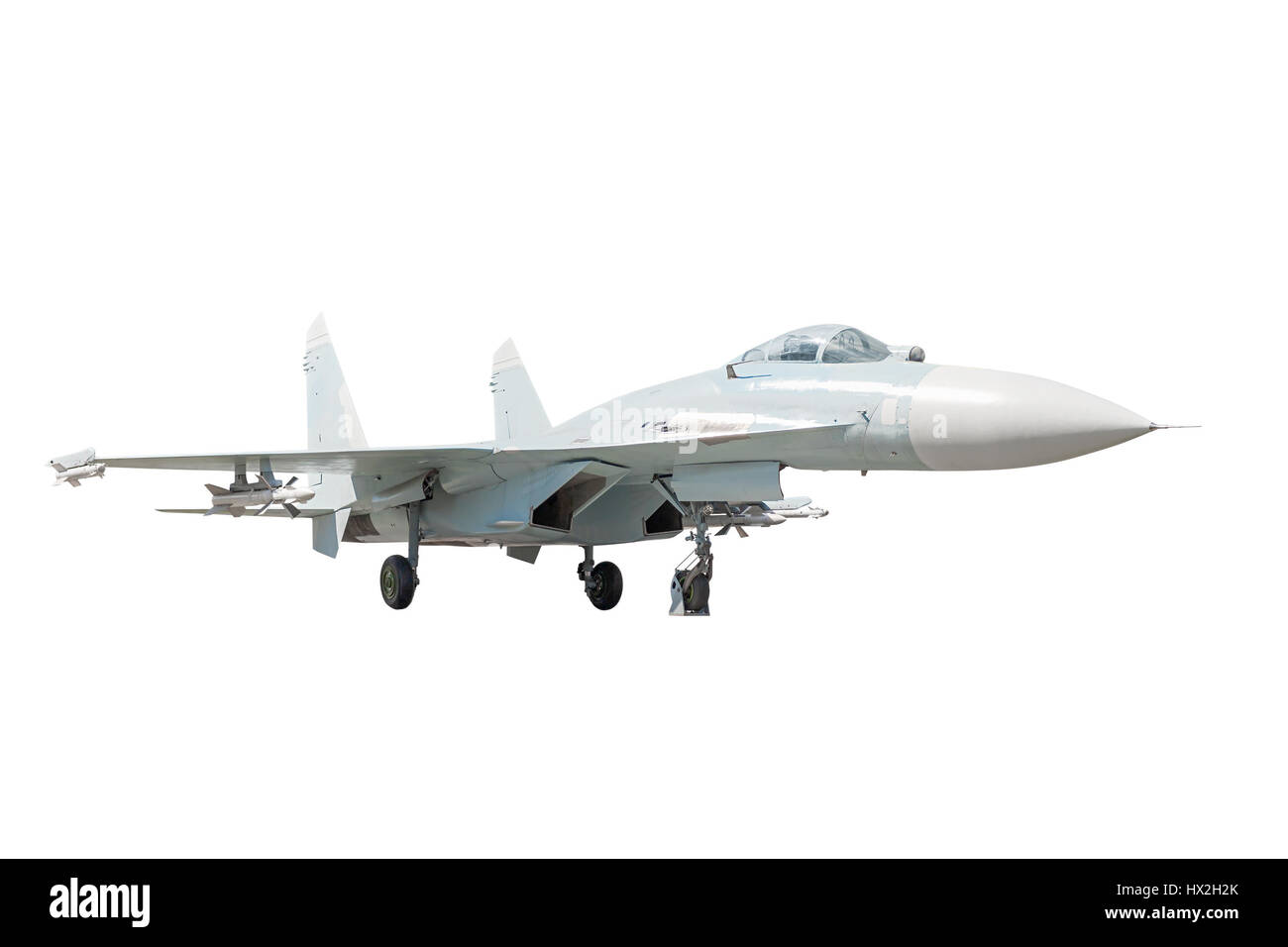 Side view of the supermaneuverable fighter aircraft on the white background - Stock Image