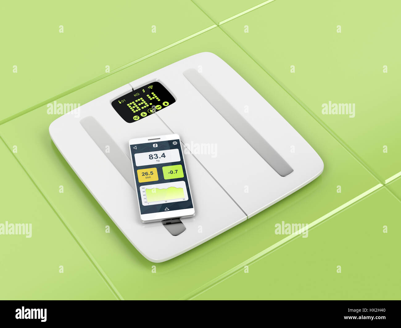 Smart body analyzer and smartphone in the bathroom - Stock Image