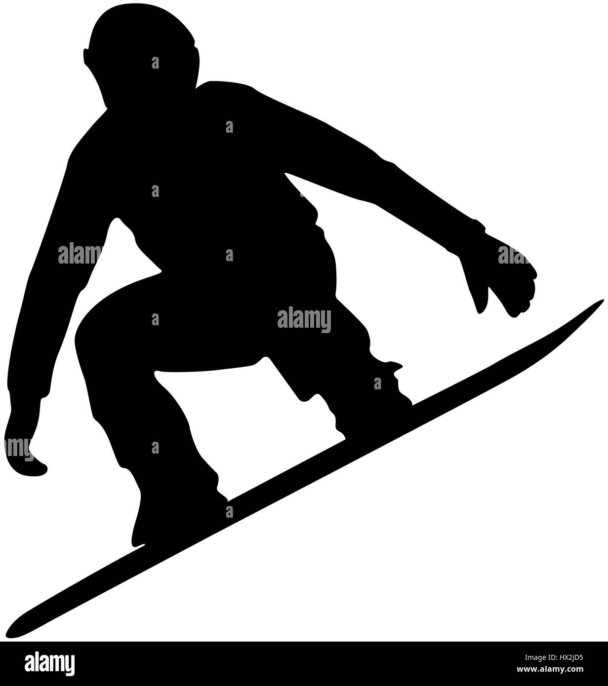 snowboard competition male athlete jump black silhouette - Stock Image
