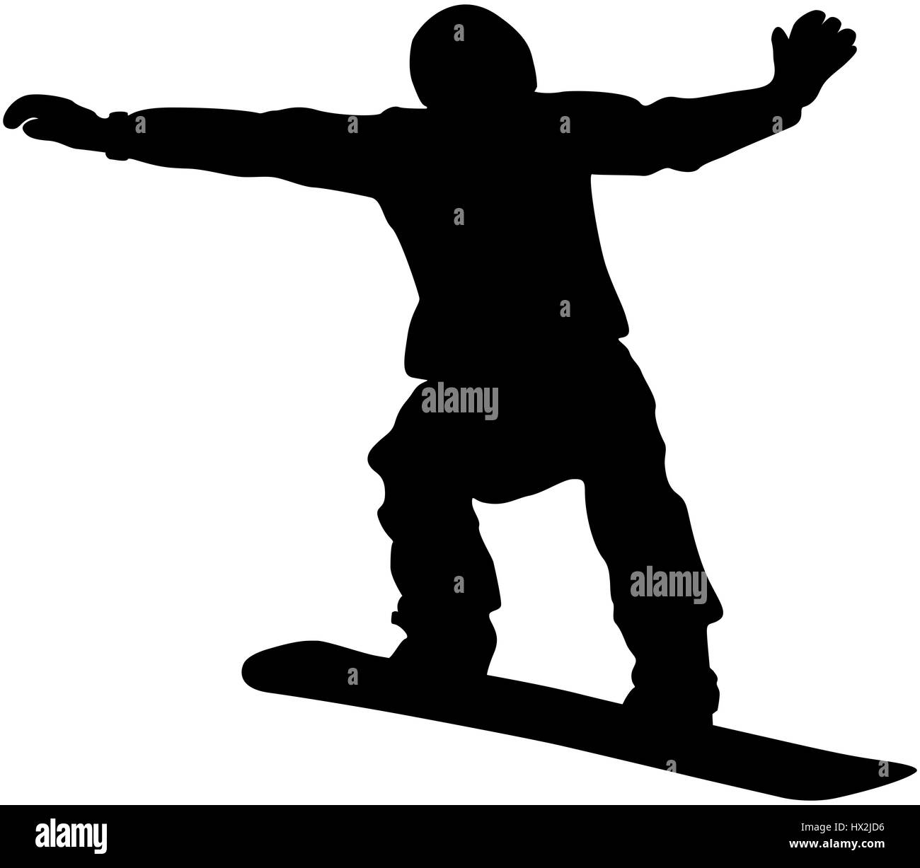 snowboard competition male snowboarder jump black silhouette - Stock Image