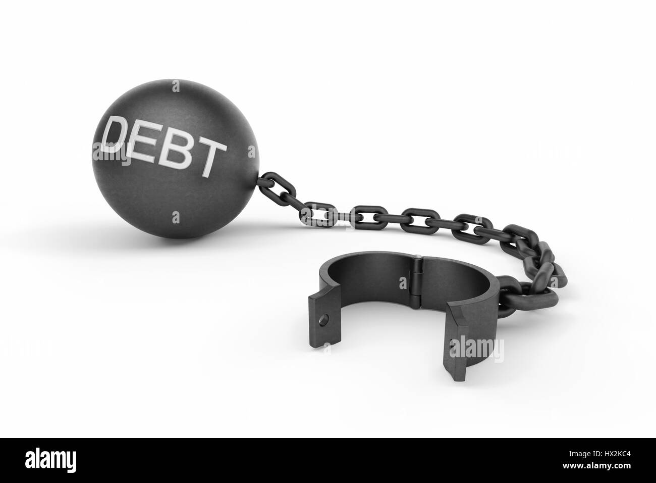 Ball and chain opened with 'DEBT' text on the ball. This image indicates that a person is free from his - Stock Image