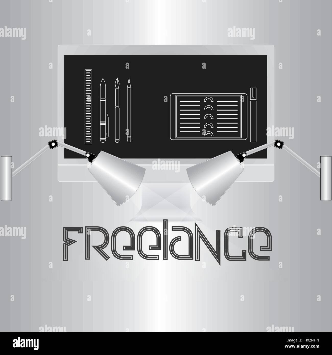 Stylish image, the word freelance on a gray gradient background. Computer monitor and lamps illuminate the text. - Stock Vector