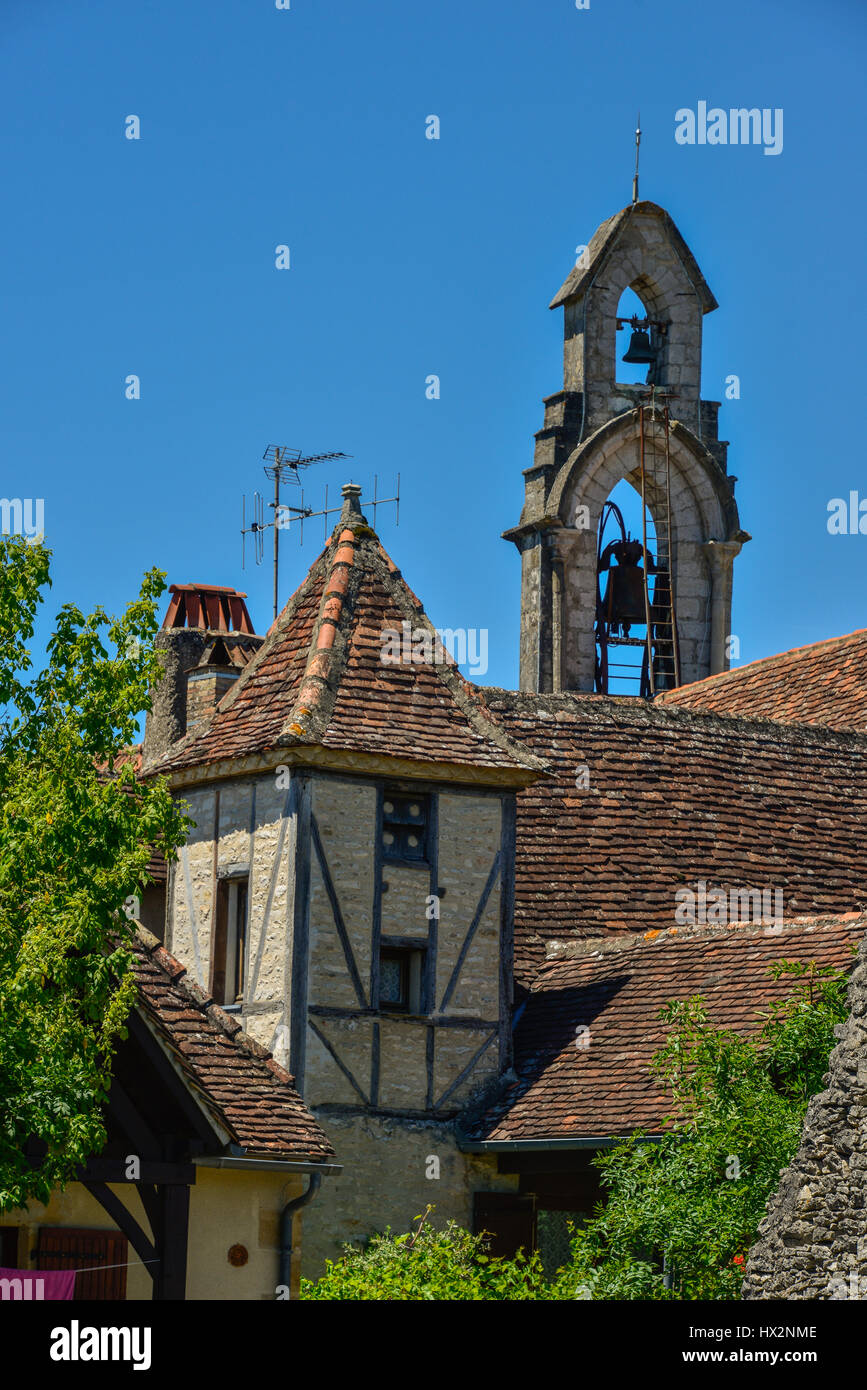 Pigeonnier and church at Rocamadour, in the Lot region of Occitanie, France Stock Photo
