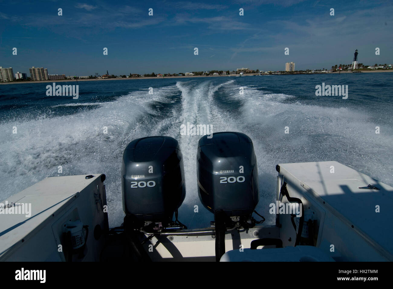 twin 200 hp outboard motors - Stock Image