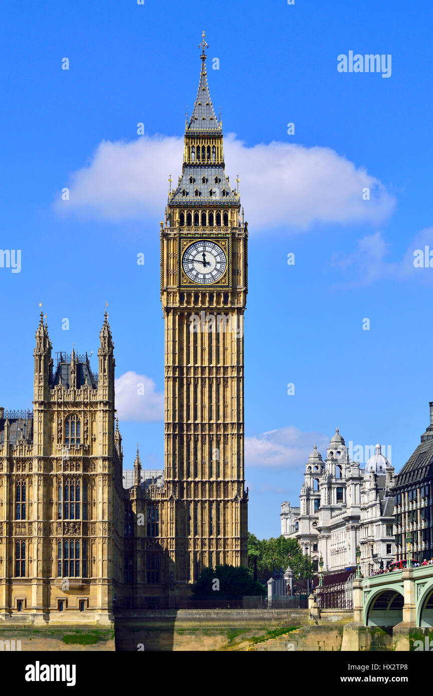 London, England, UK. Big Ben / the Elizabeth Tower. Seen from the South Bank of the Thames - Stock Image