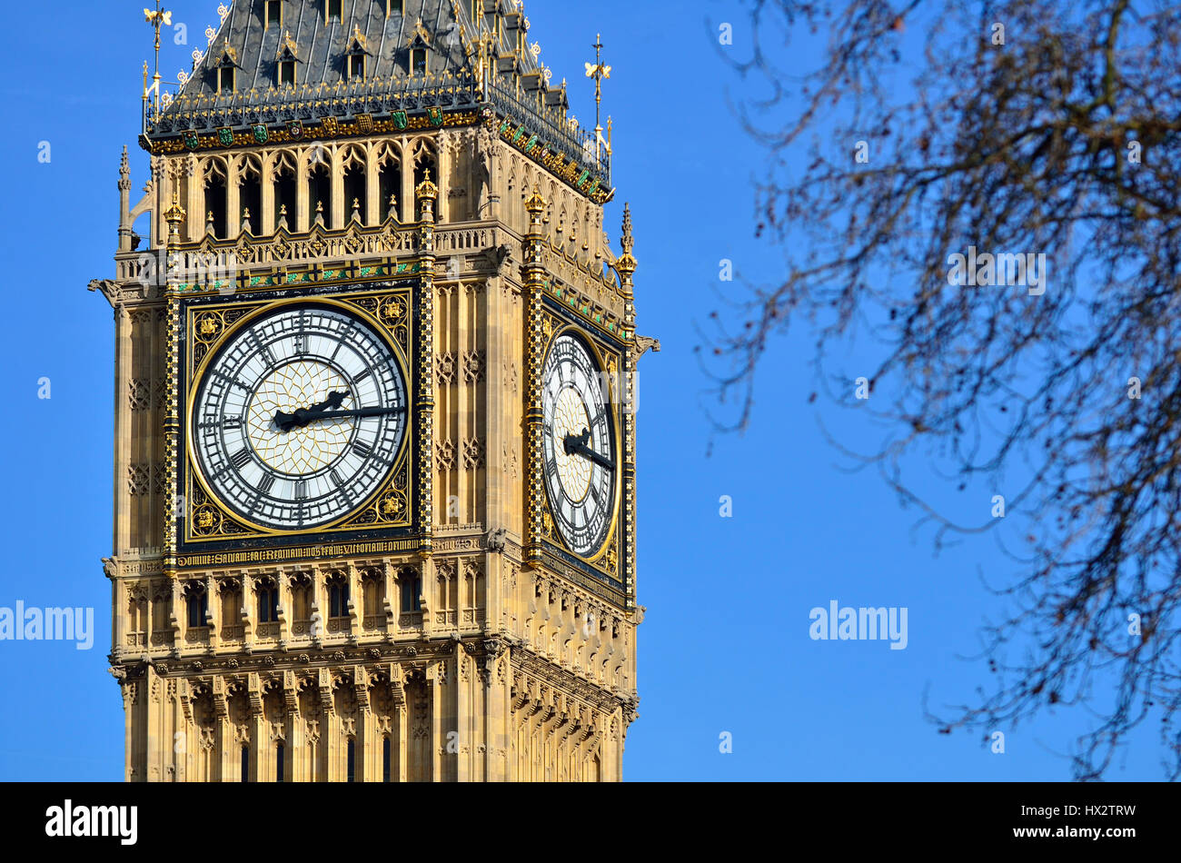 London, England, UK. Big Ben, officially The Elizabeth Tower. Formerly St Stephen's Tower, renamed for the Queen's - Stock Image