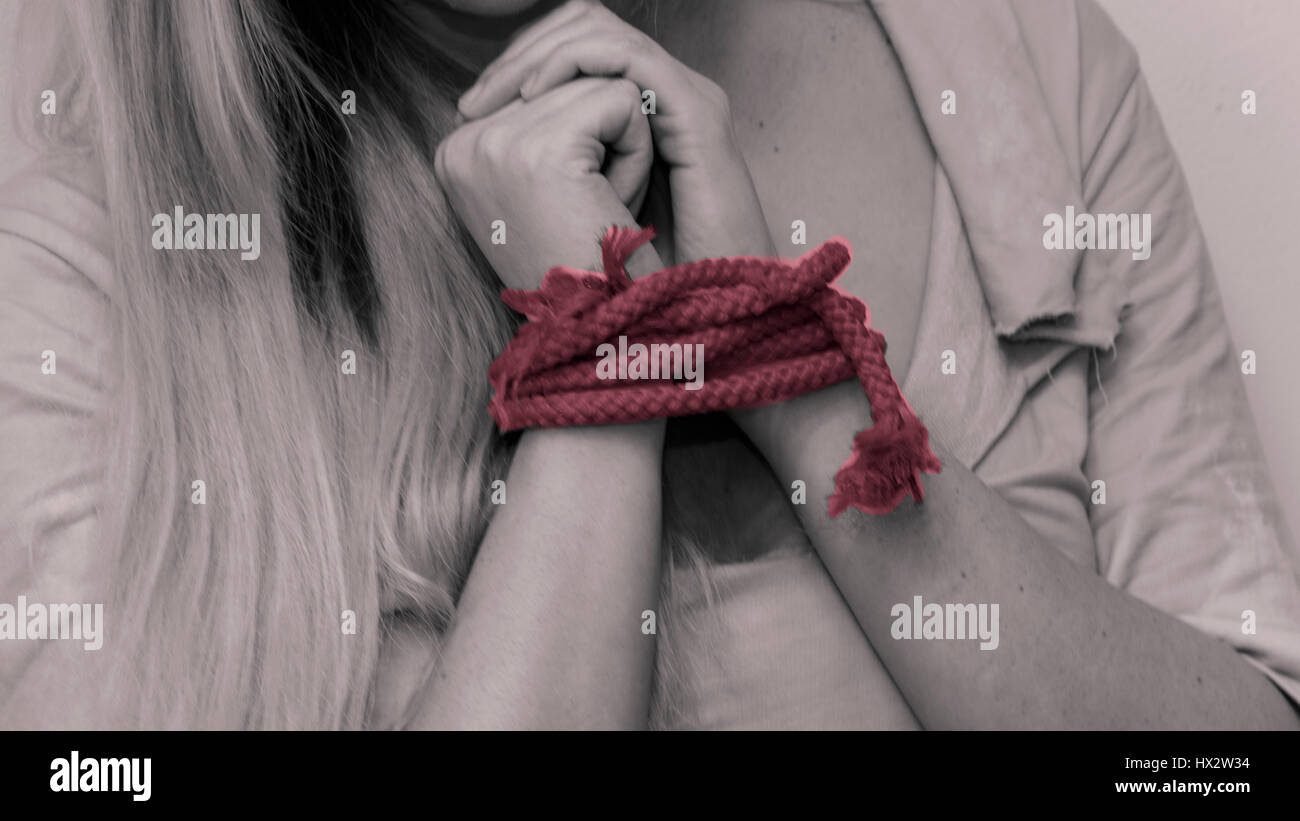 the red rope of beening in love and lust with someone. - Stock Image