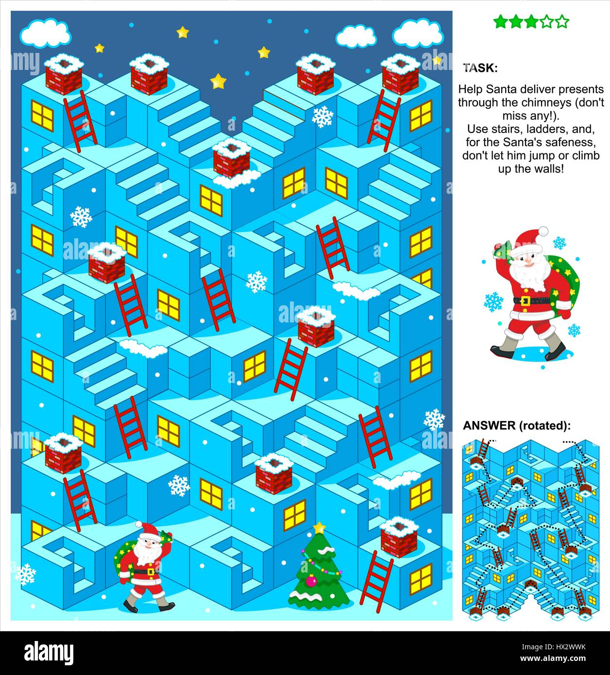 Christmas or New Year themed 3-dimensional maze game with stairs, ladders and Santa delivering presents through - Stock Vector