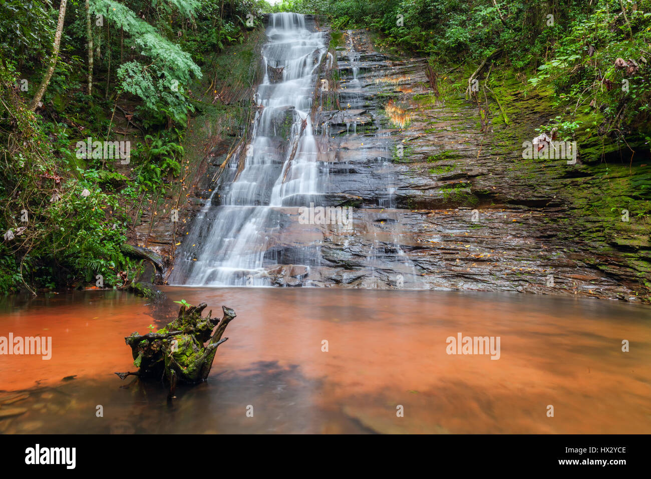 Cascades, beautiful waterfall in a rainforest. Bolivia. Long exposure. Stock photo Stock Photo