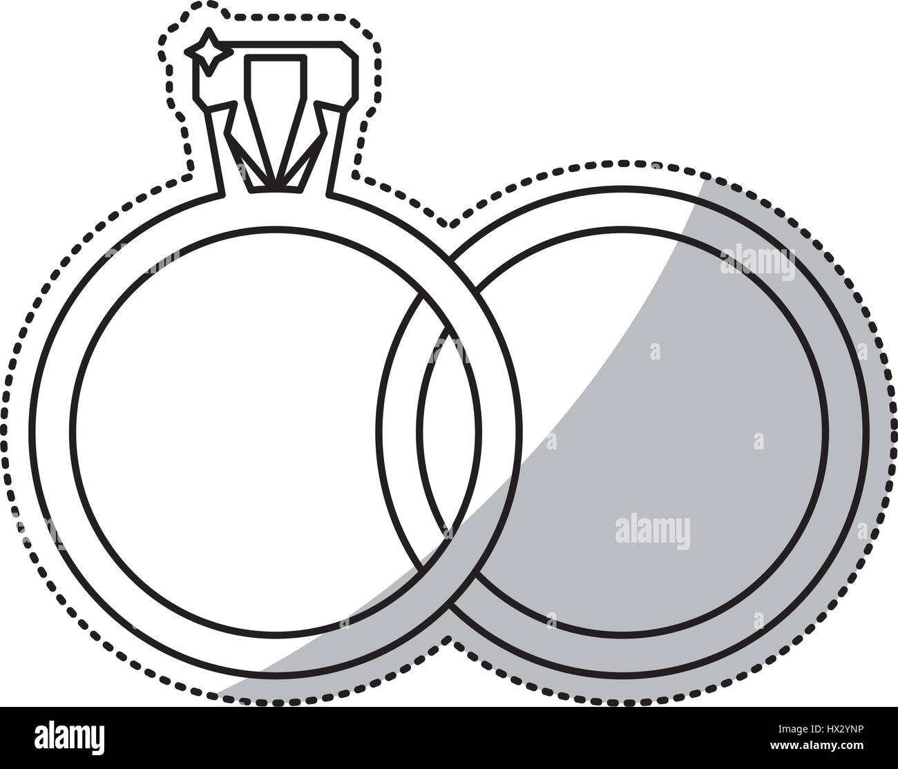 Wedding Rings Jewelry Outline Stock Vector Art Illustration
