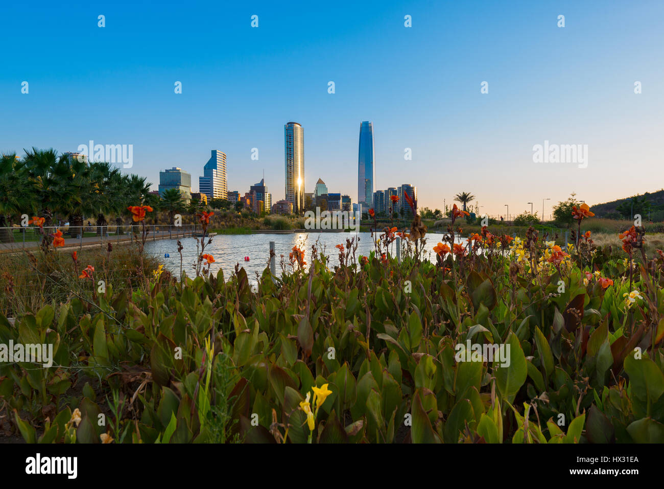Pond at Bicentennial Park in the wealthy Vitacura district and skyline of buildings at financial district, Santiago - Stock Image