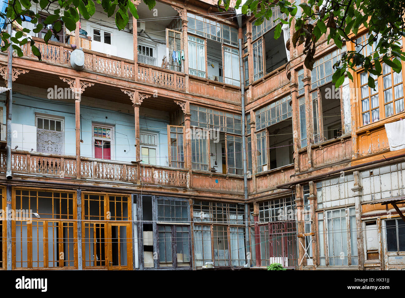 Old houses from the Soviet times in Tbilisi, Georgia - Stock Image
