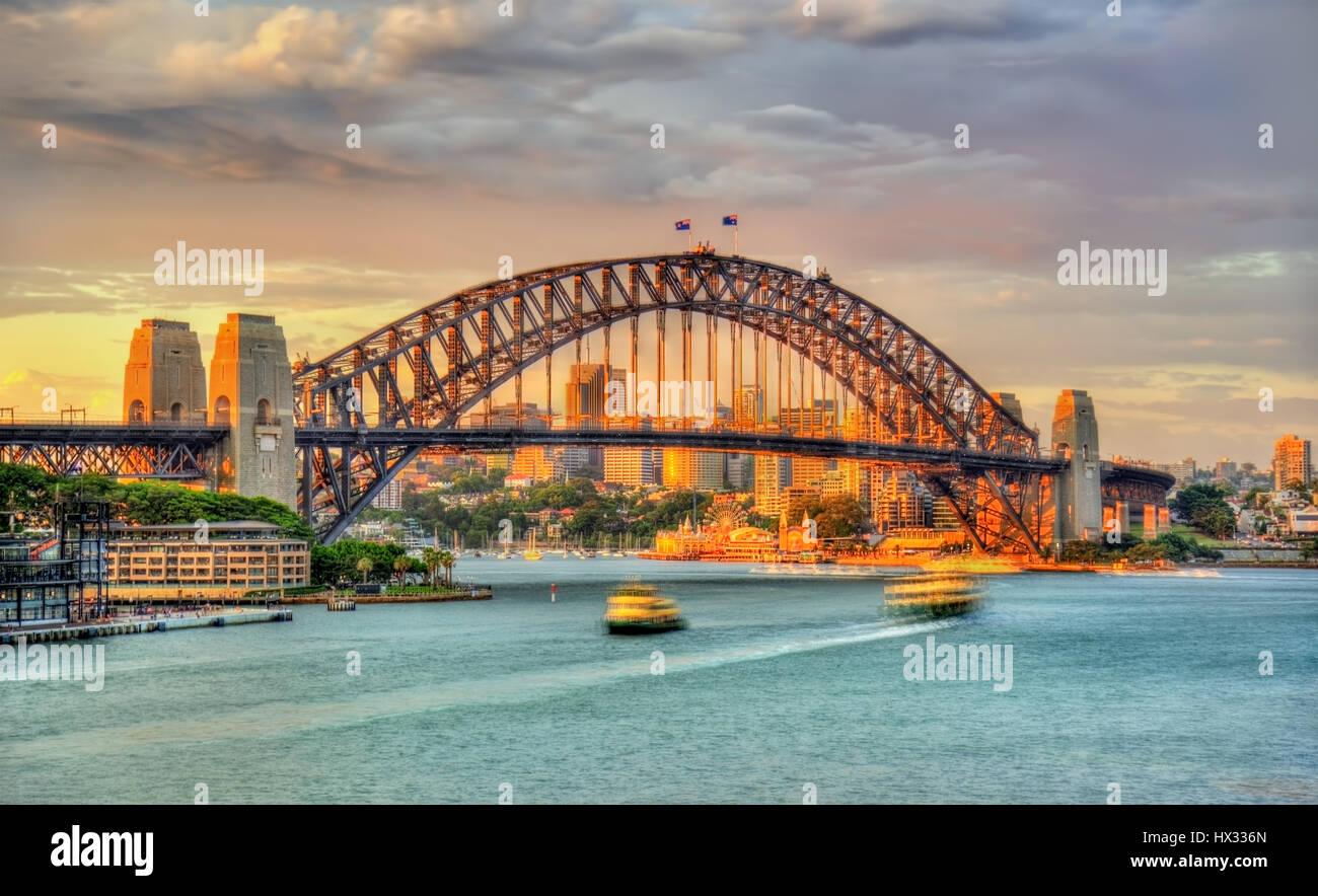 Sydney Harbour Bridge at sunset - Stock Image