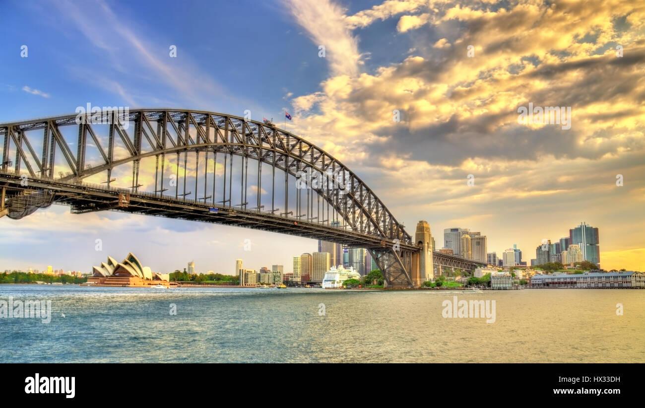 Sydney Harbour Bridge from Milsons point, Australia. - Stock Image