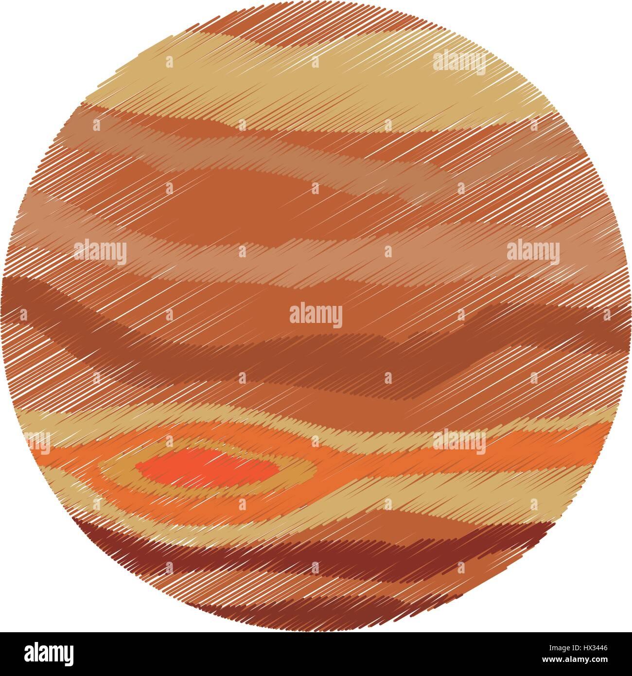 drawing jupiter planet system solar - Stock Image