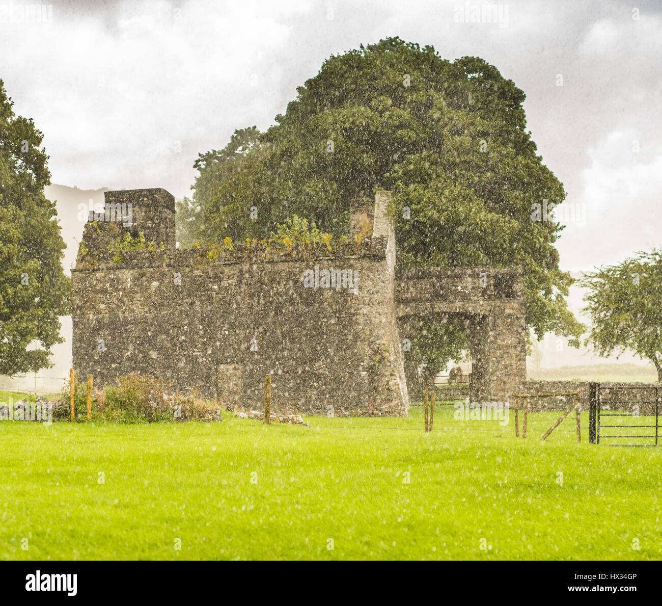 Ancient monastic ruins of Fore Abbey in County Westmeath, Ireland - Stock Image