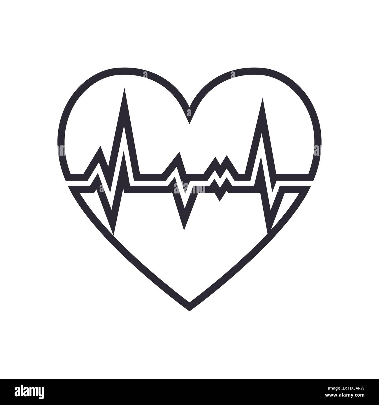 heart cardiology isolated icon - Stock Image