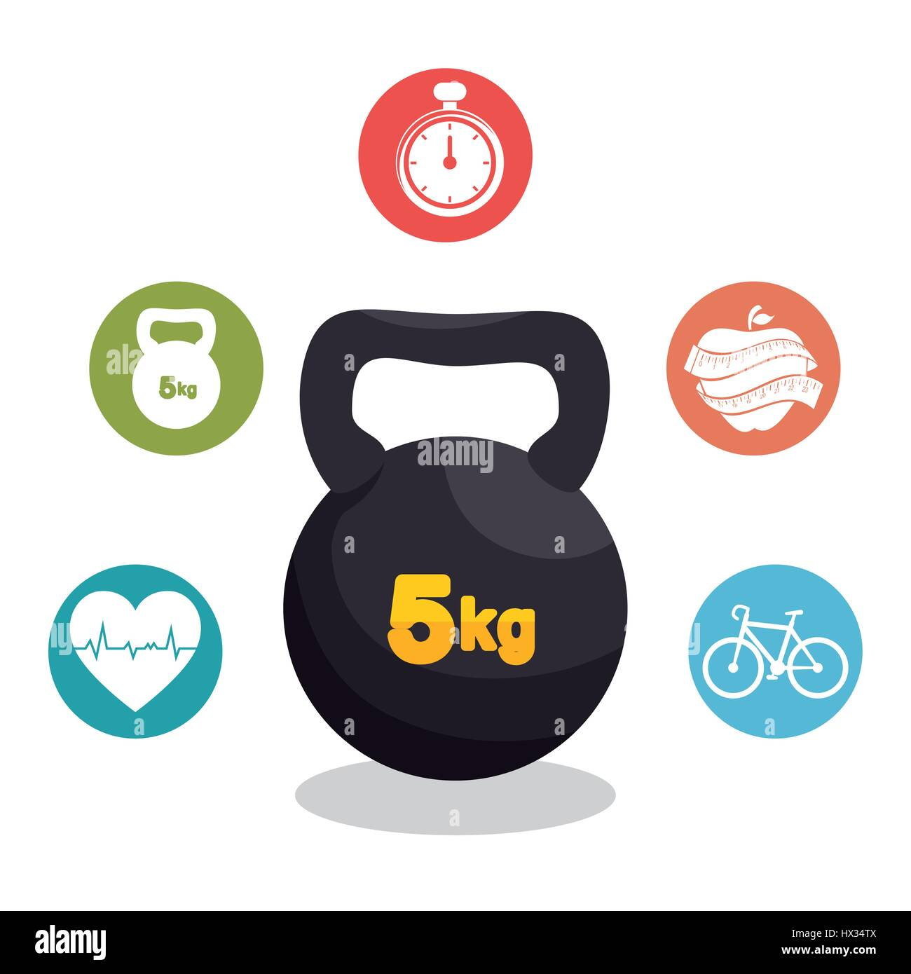 fitness lifestyle elements icons - Stock Vector