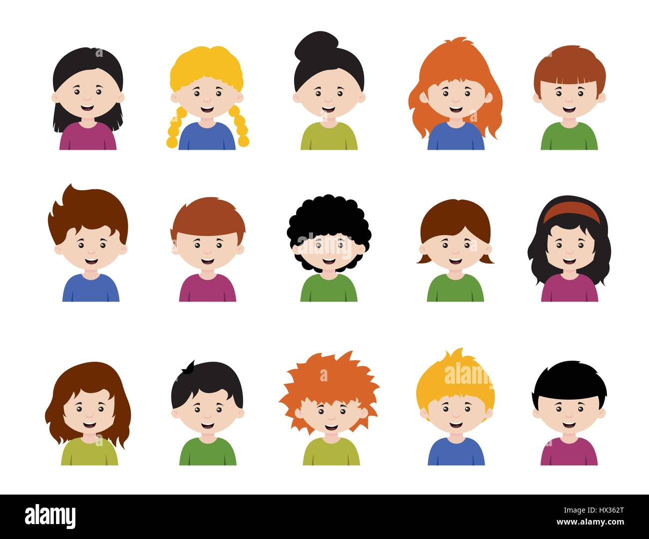 Set Of Cartoon Childrens Faces Stock Vector Art More: Big Set Of Kids Avatars,cute Cartoon Boys And Girls Faces