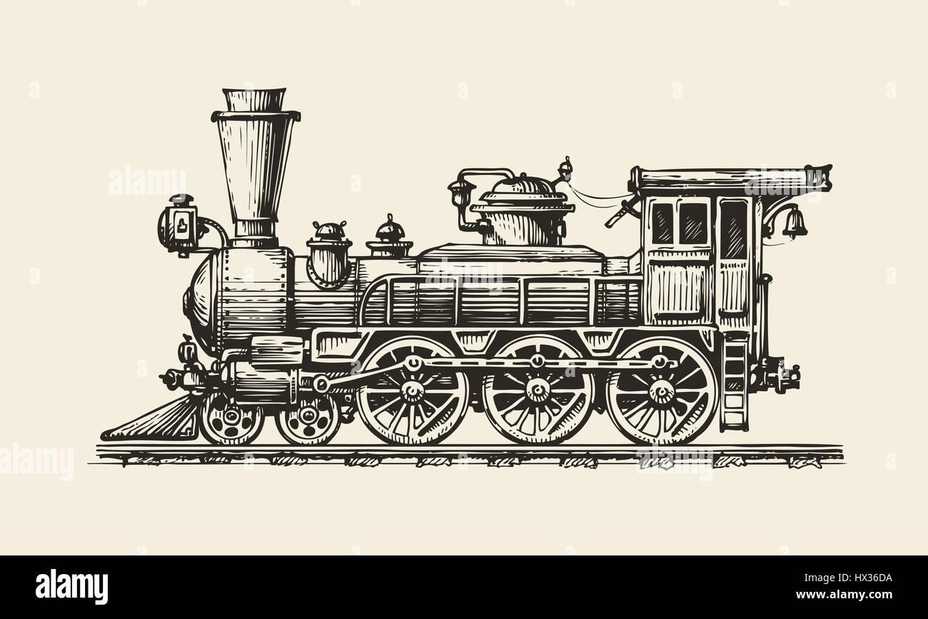 Vintage locomotive. Hand-drawn retro train. Sketch, vector illustration - Stock Vector