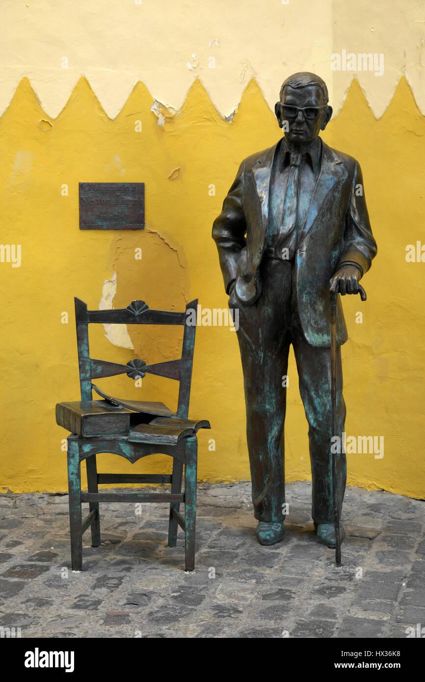 Sculpture of writer Nestor Alamo, Las Palmas, Gran Canaria, Canary Islands, Spain - Stock Image