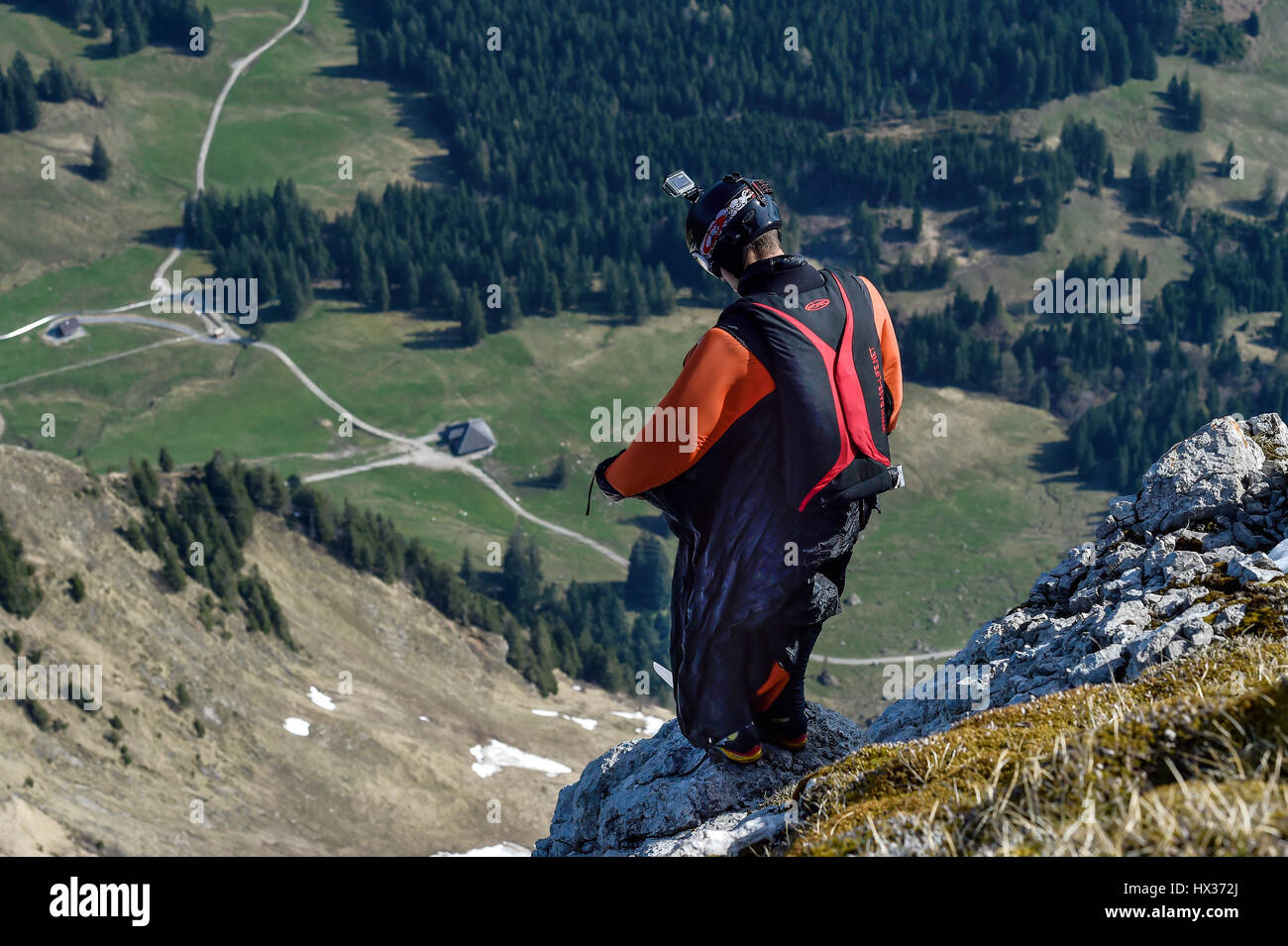 Base jumper with wingsuit at startup, Pilatus, Lucerne, Switzerland - Stock Image