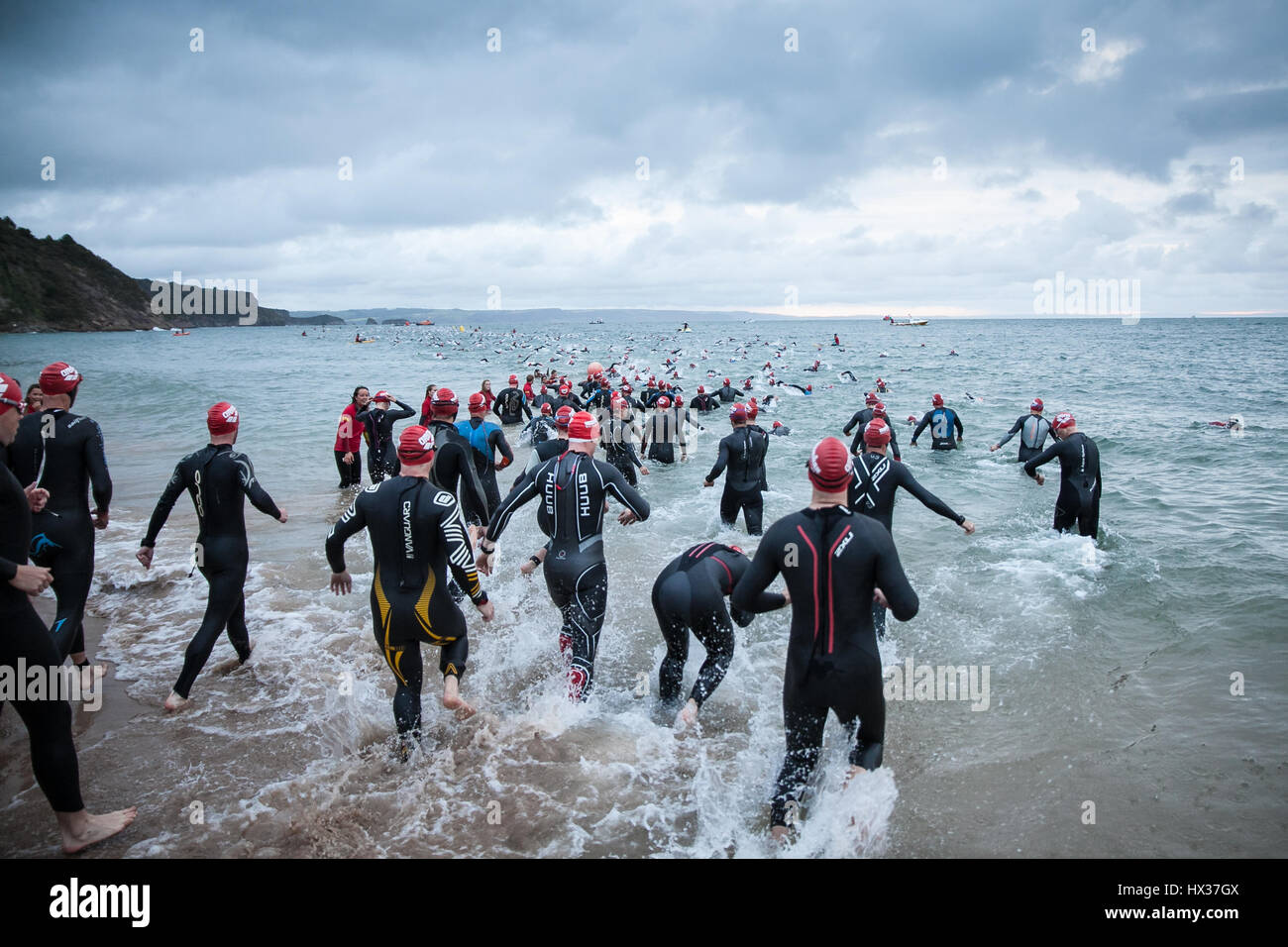 People take part in Ironman Wales, 2015, Tenby, Pembrokshire, Wales, UK - Stock Image
