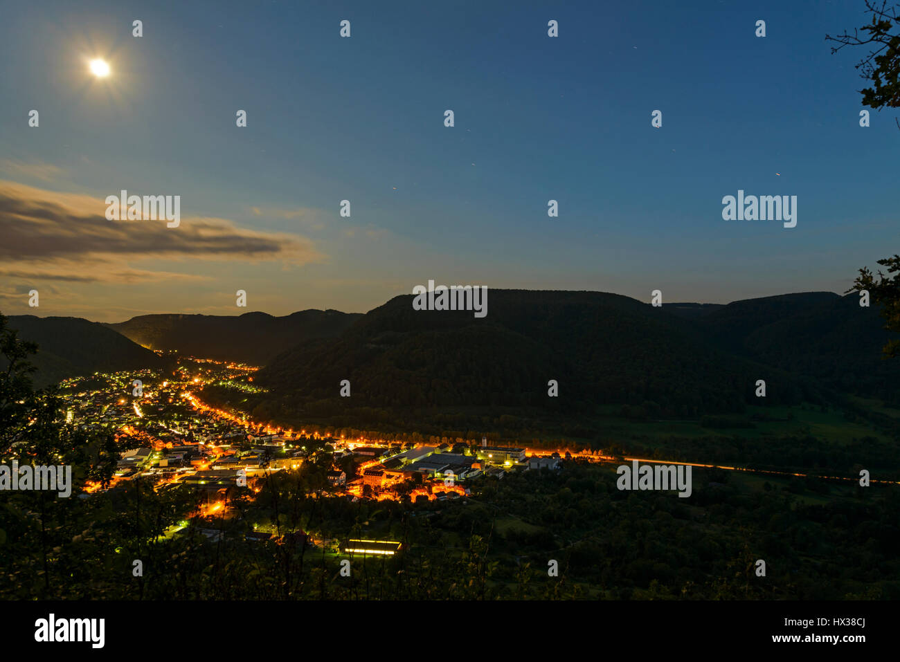 Lichtenstein, Swabian Alb in the night. View on the city. Baden Wurttemberg, Germany - Stock Image