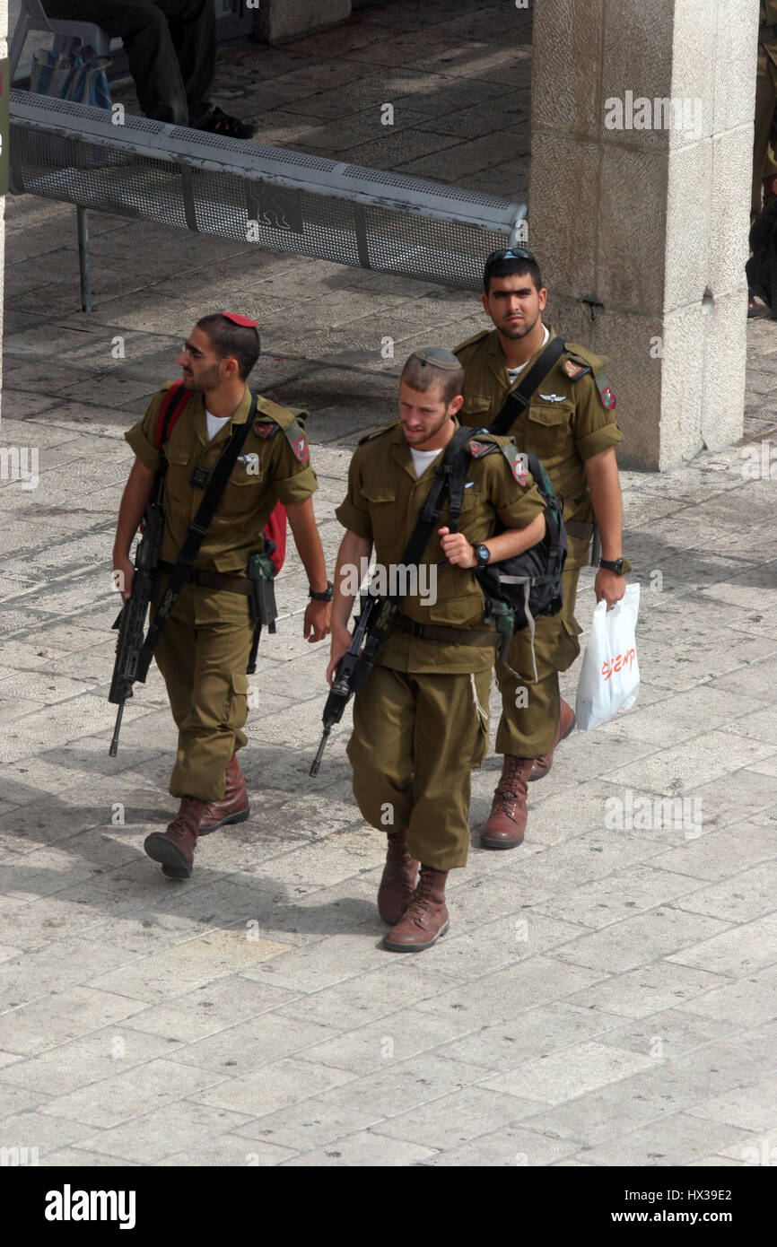 Members of the Israeli Border Police in the Old City Jerusalem, Israel. They are deployed for law enforcement in - Stock Image