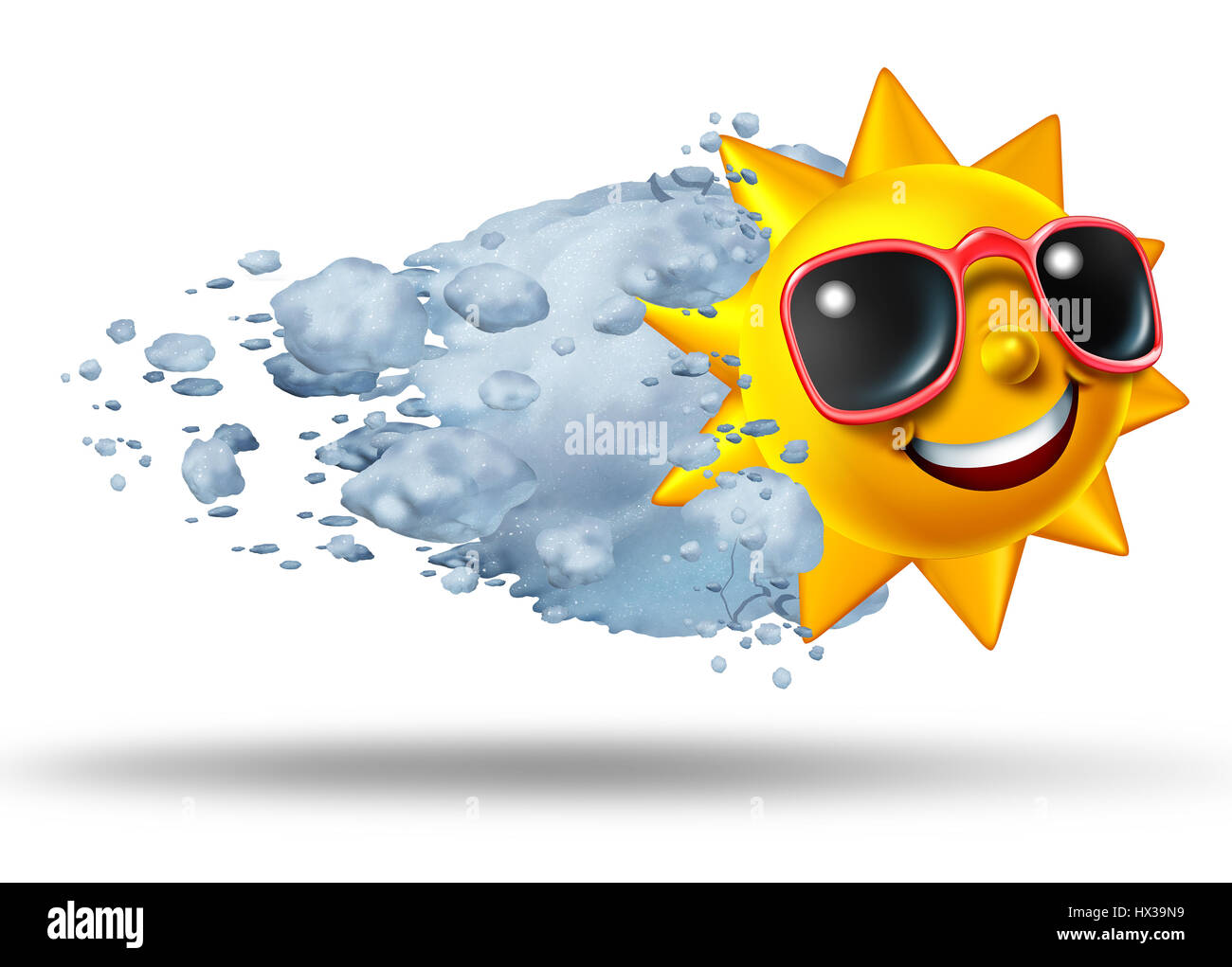 Season change and seasonal weather concept as a cold snowball hitting a hot sun character as an air conditioning - Stock Image