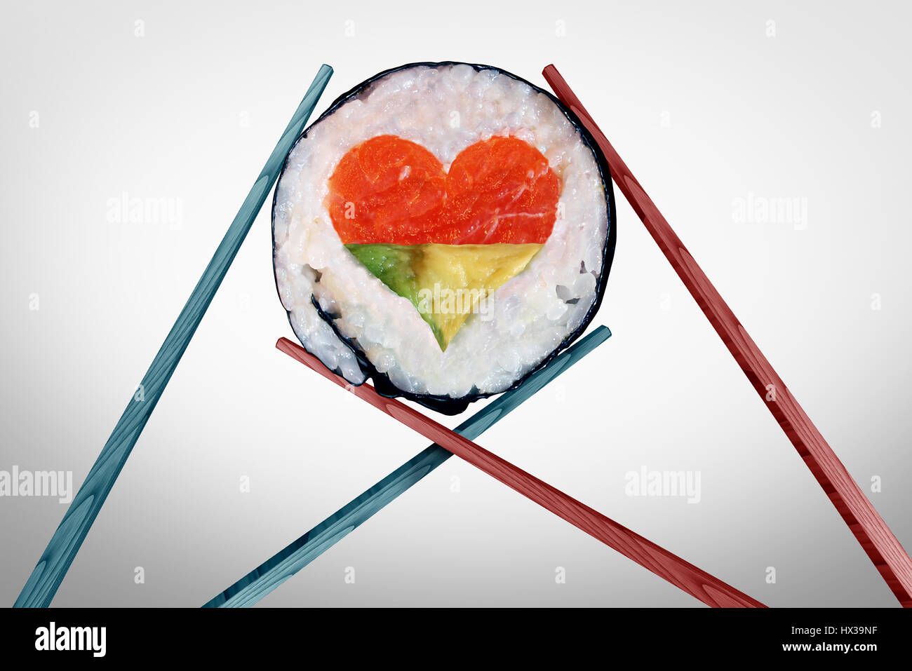 Dinner for two dining and romantic date concept as a couple of chopsticks holding a sushi piece with a love heart - Stock Image